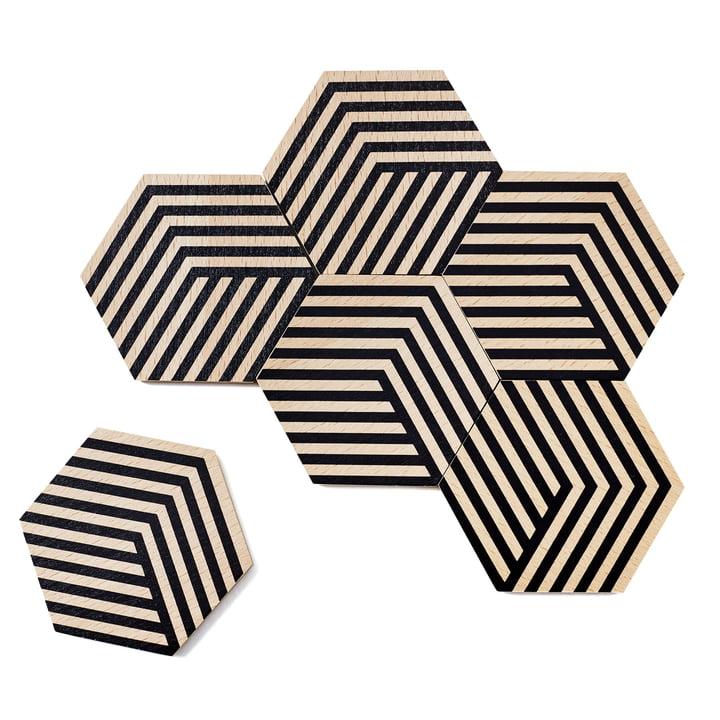 Lot de 6dessous de verre Table Tiles Optic d'areaware noirs