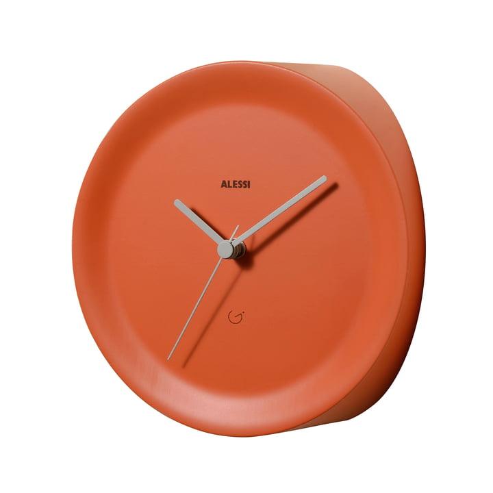 Horloge d'angle Ora In par Alessi en orange