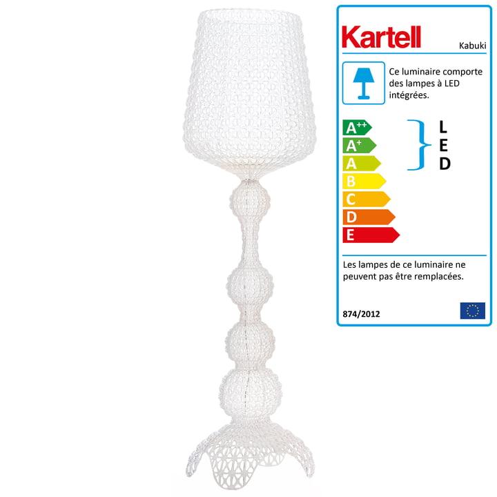 Le lampadaire LED Kabuki de Kartell en transparent