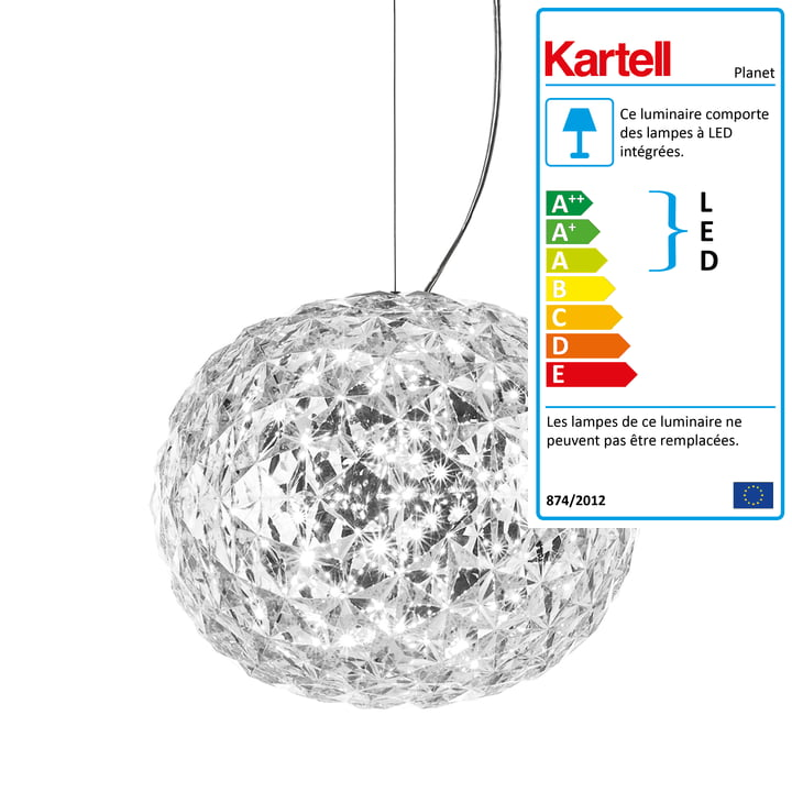 Suspension lumineuse à LED Planet de Kartell en transparent
