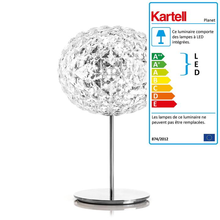 La lampe de table à LED Planet dimmable avec pied de Kartell en transparent