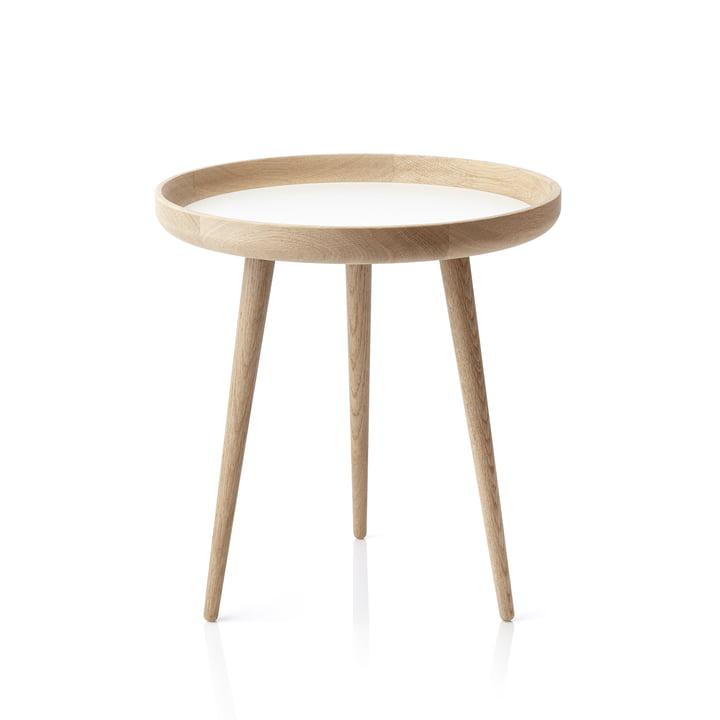 Table applicata Ø 49 cm, chêne / stratifié blanc