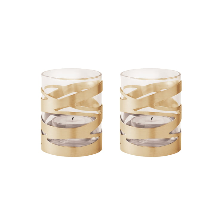 Photophores pour bougies chauffe-plat Tangle en laiton (lot de 2) de Stelton