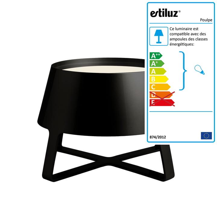 Estiluz - Lampe de sol Poulpe, noir