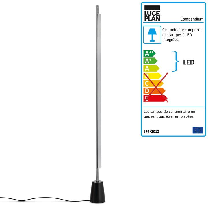 Lampadaire LED Compendium D81 de Luceplan en aluminium/noir