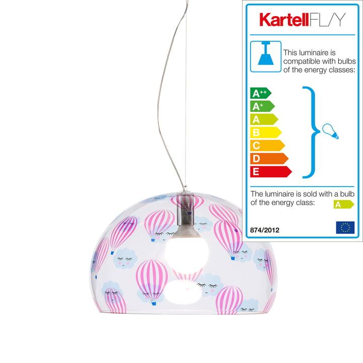 Luminaire pour chambre d'enfant FL/Y small de Kartell en transparent/montgolfières