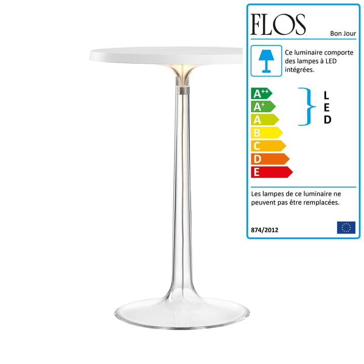 La lampe de table Bon jour de Flos en blanc