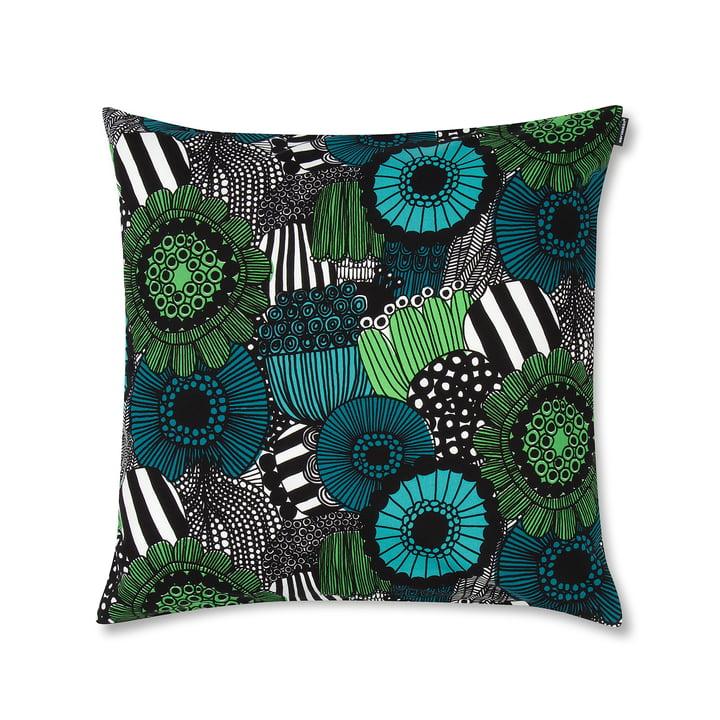 Marimekko - Housse de coussin Pieni Siirtolapuutarha 50x50cm, vert/bleu/noir