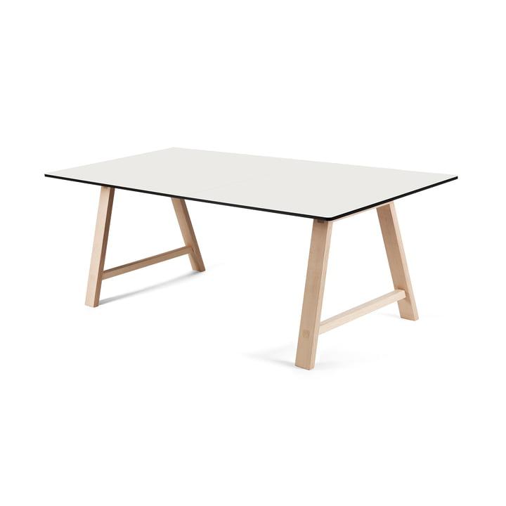 La table extensible T1 160cm d'Andersen Furniture (support chêne savonné, plateau de table stratifié, blanc)