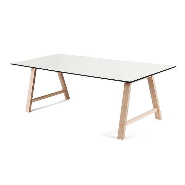 La table extensible T1 180cm d'Andersen Furniture (support chêne savonné, plateau de table stratifié, blanc)