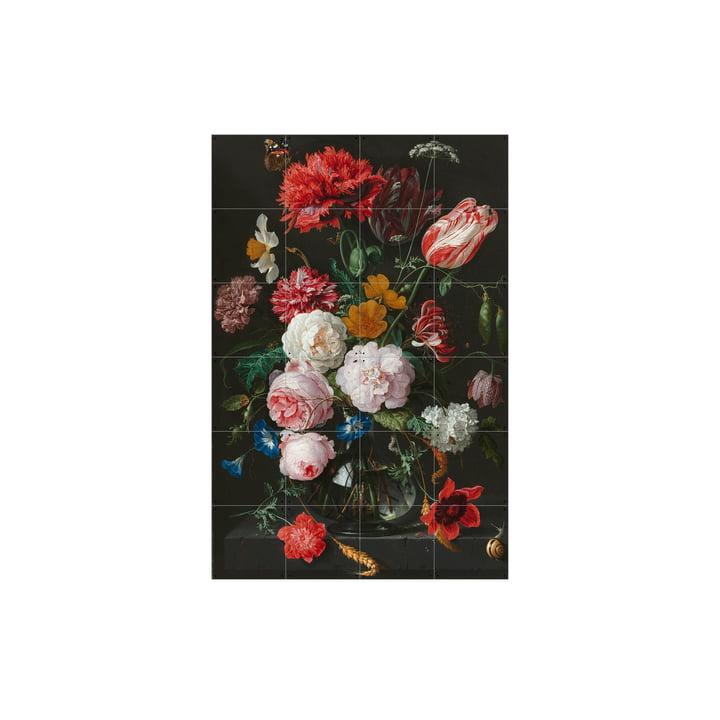 Nature morte à la fleur dans un vase en verre (De Heem) par IXXI en 80 x 120 cm