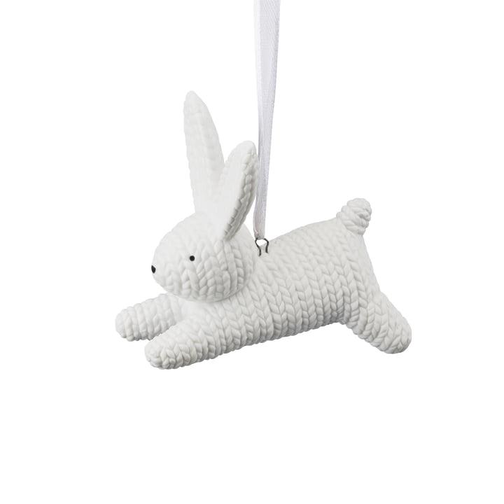 Lapin à suspendre en petit format de Rosenthal en blanc