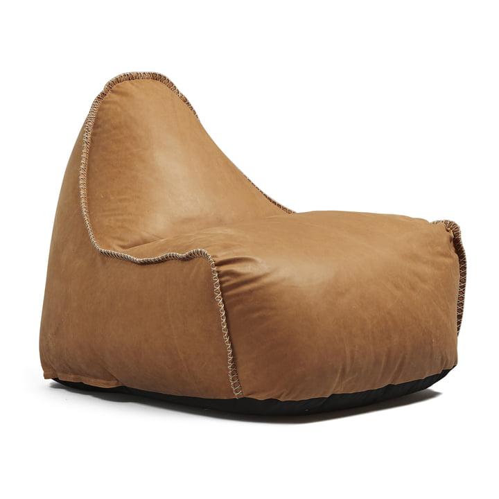 Pouf Retro it Dunes de Sack it en cuir couleur cognac