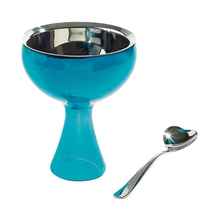 Coupe à glace Big Love avec cuillère d'Alessi en bleu