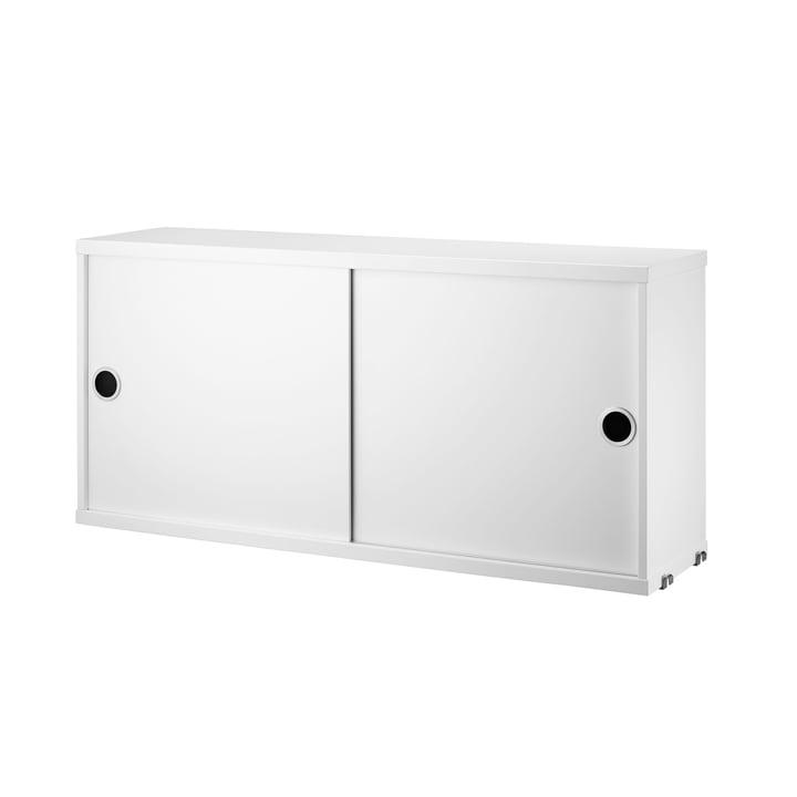 Système d'armoire modulaire avec portes coulissantes 78x20cm de String en blanc