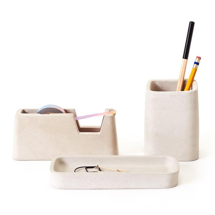 Le Concrete Desk Set d'Areaware en gris (série de 3 pièces)