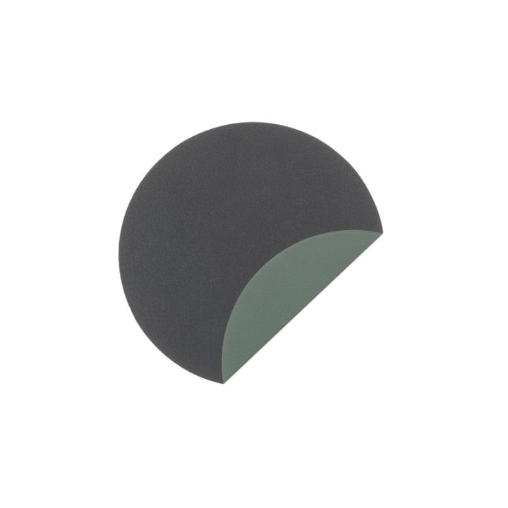 Tapis de verre Circle Double Sous-verre Ø 10 cm de LindDNA en Cloud anthracite / Nupo vert pastel (2 mm)