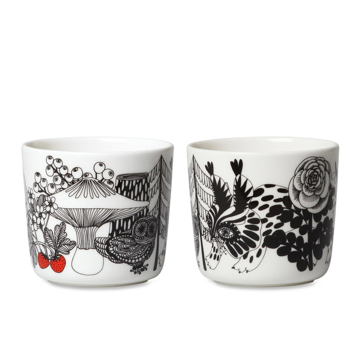 Marimekko - Mug Oiva Veljekset (Set de 2) en blanc / noir / bleu