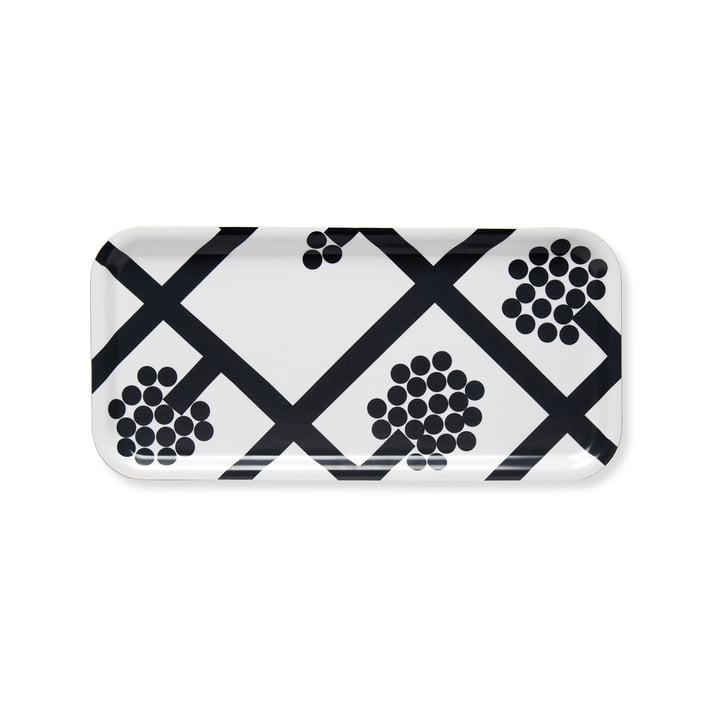 Plateau Spaljé 15 x 32 cm de Marimekko en noir / blanc
