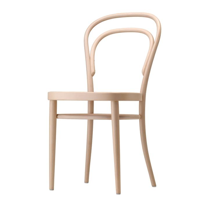 Chaise en bois courbé 214 avec cannage par Thonet en hêtre naturel (TP 17)