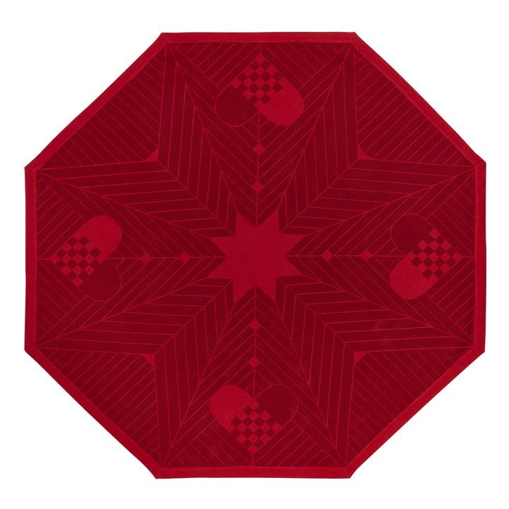 Tapis de Noël octogonal 130 x 130 cm par Georg Jensen Damask en rouge foncé