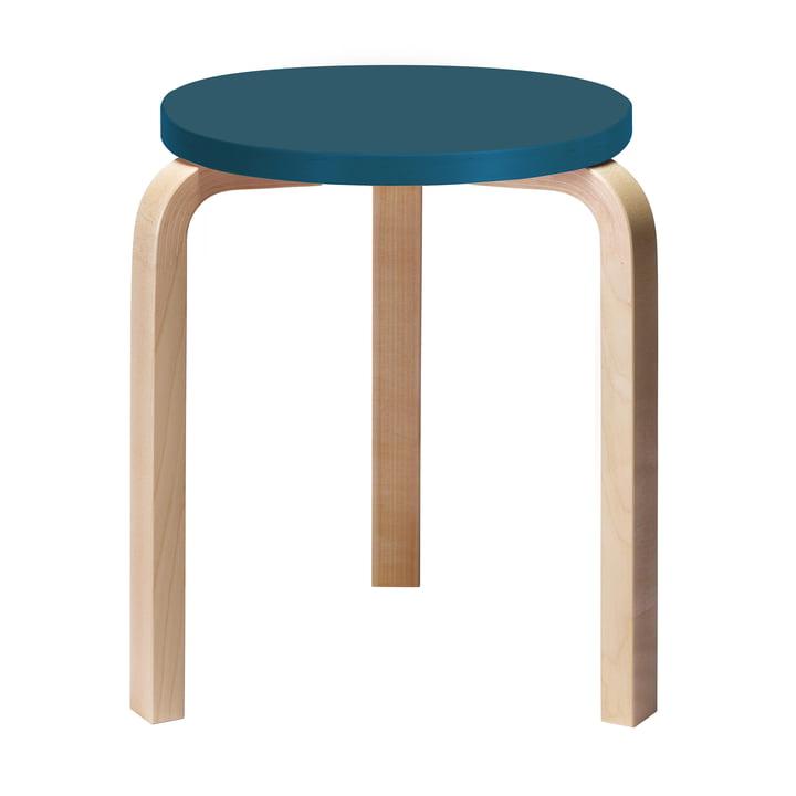 Tabouret 60 par Artek avec assise bleu (Edition spéciale)