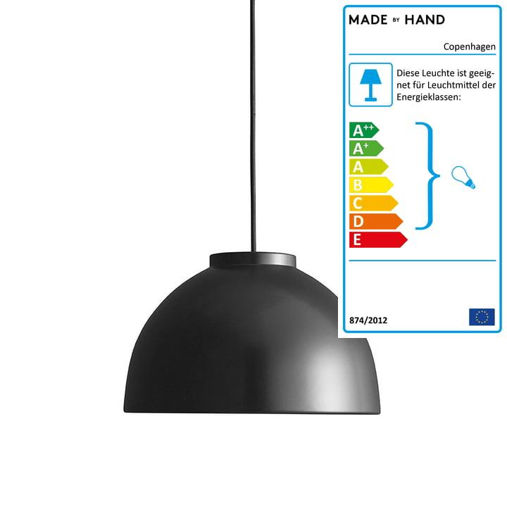 Copenhagen pendentif Ø 28 cm fait à la main en noir mat / noir
