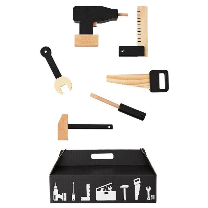 Set de jouets outils Tool School (6pièces) par Design Letters en noir