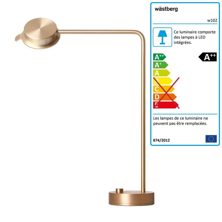 La lampe de table w102 Chipperfield de Wästberg en laiton