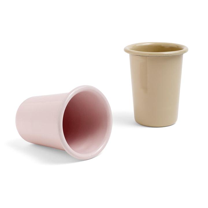 Mug Emaille par Hay en marron et rose pâle