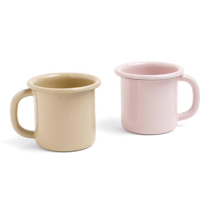 Mug Emaille avec anse par Hay en marron et rose pâle