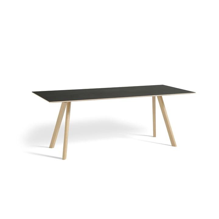 Copenhague CPH30 table 200 x 90 cm par Hay en chêne laqué mat / dessus en linoléum noir