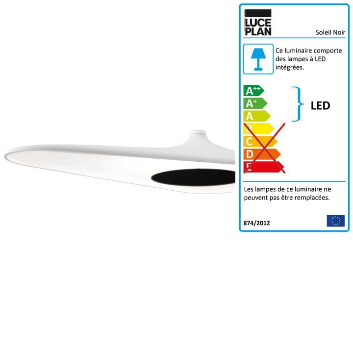 Le plafonnier Soleil Noir de Luceplan en blanc