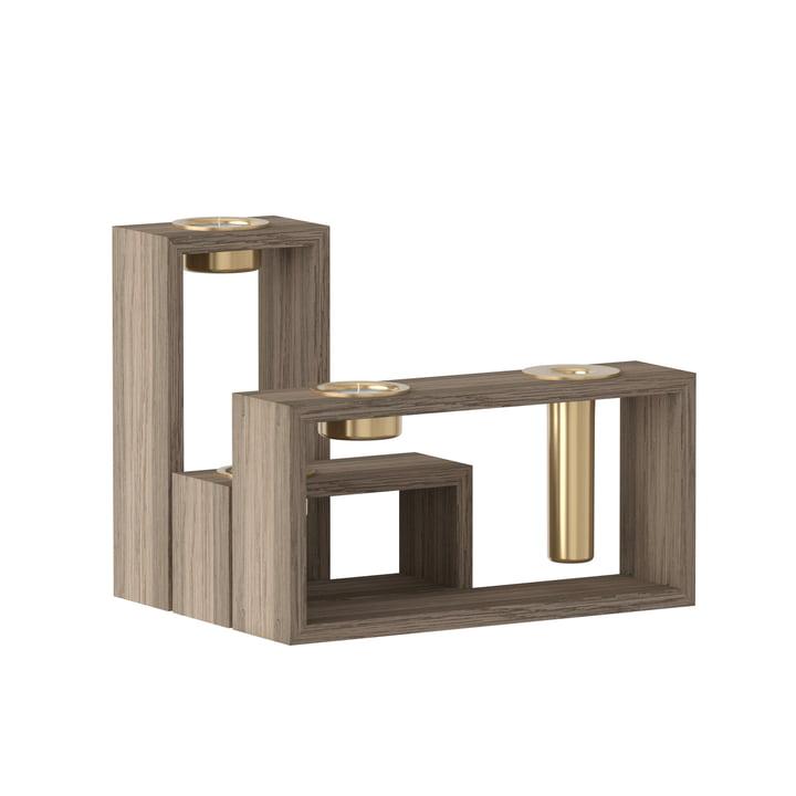 Umage - Bougeoir Compose, bois de chêne foncé / laiton (set de 3)