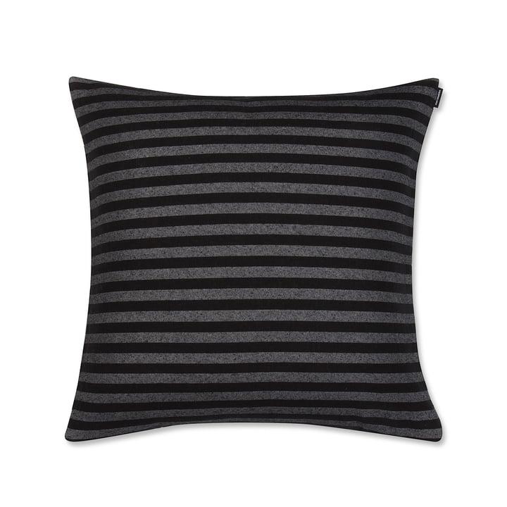 Housse de coussin Tasaraita 50x50cm de Marimekko en noir / gris