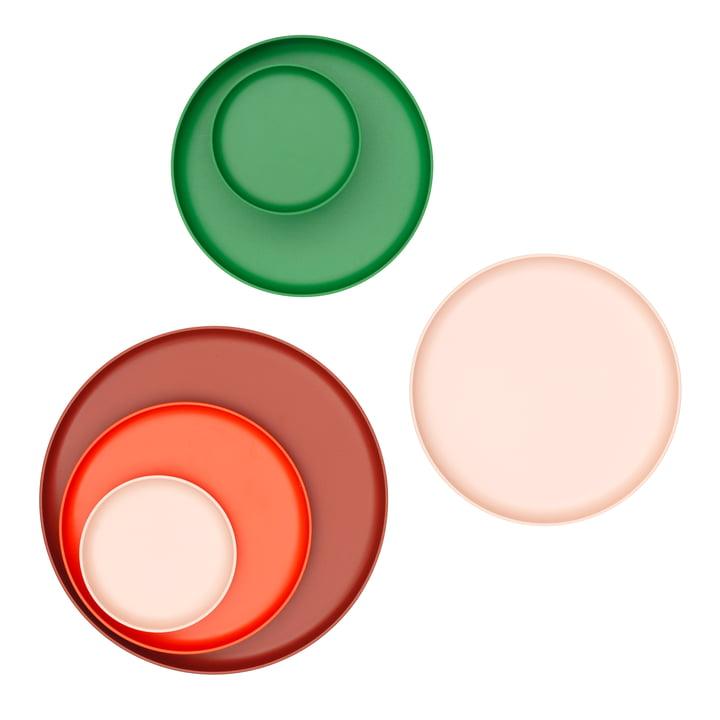 Les Trays de Vitra, rouge et vert (lot de 3)
