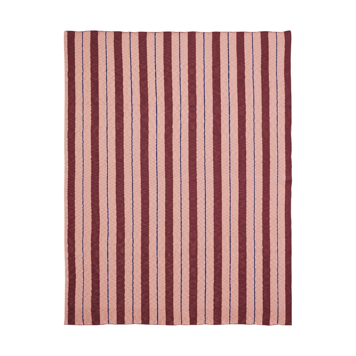 Couverture Rayures de ferm Living en rose