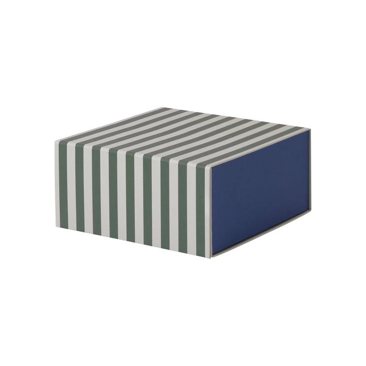 Striped Box carrée par ferm Living en vert/blanc crème
