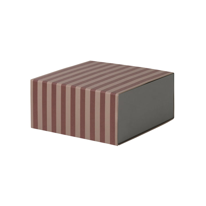 Striped Box carrée par ferm Living en bordeaux/rose