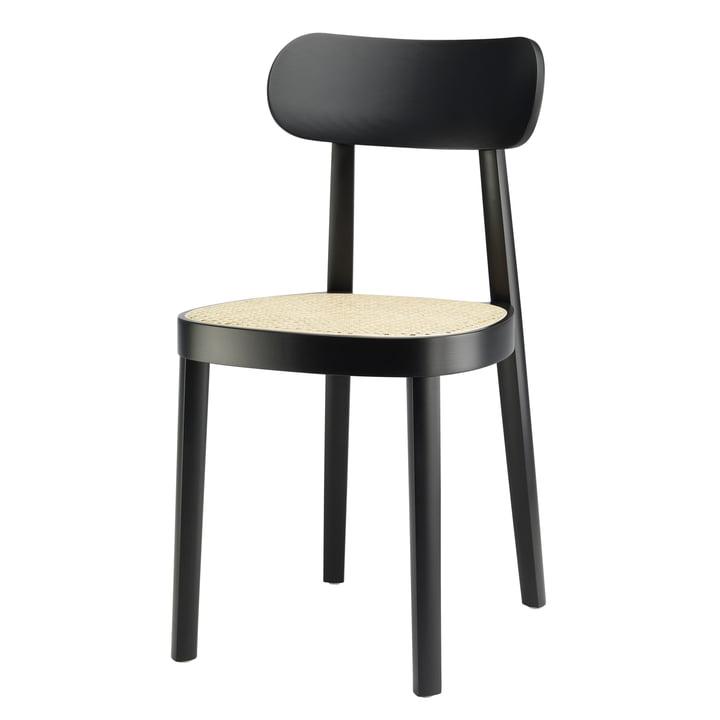 Chaise 118, cannage avec croisillons en hêtre teinté noir (TP 29) par Thonet