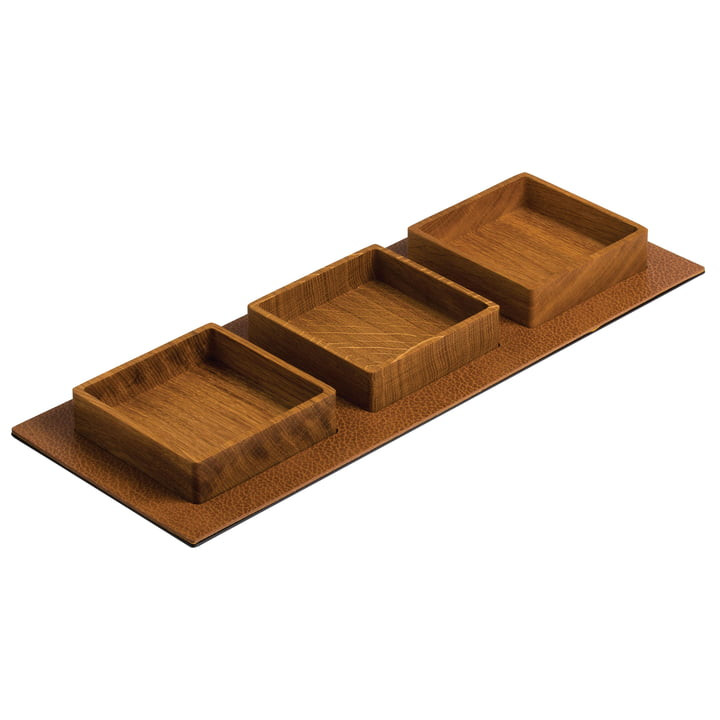 Kit Serving Tray, Square 44 x 16,5 cm par LindDNA en chêne naturel / Bull naturel