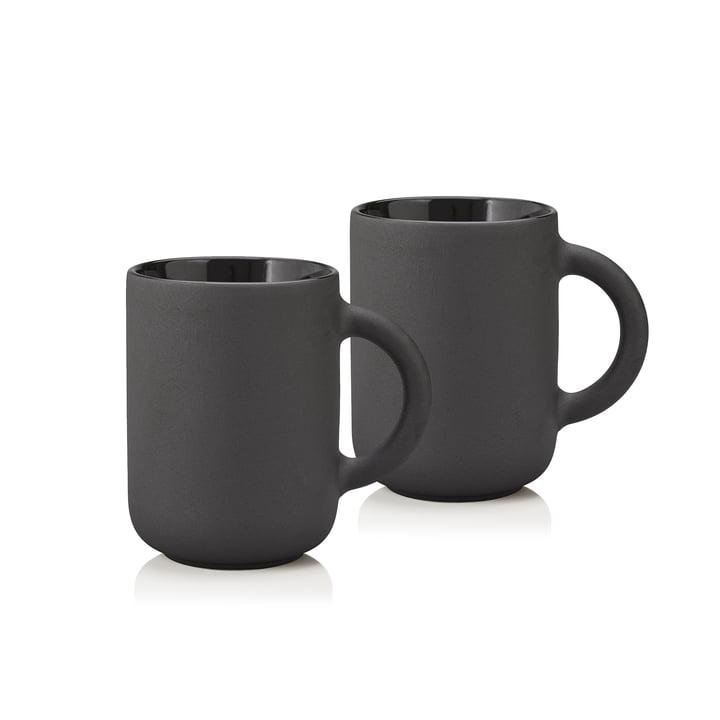 Les mugs Theo 0,35L de Stelton, noir (lot de 2)