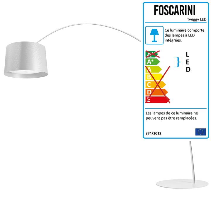 Le lampadaire arqué LED Twice as Twiggy de Foscarini avec variateur d'intensité, blanc