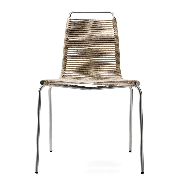 La chaise PK1 de Carl Hansen, acier chromé / corde de drapeau, naturel