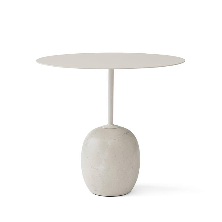 Table d'appoint Lato par &Tradition, H 45 cm 40 x 50 cm, blanc ivoire / marbre diva crème