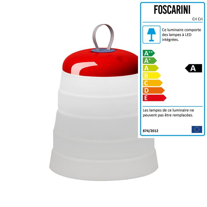 La lampe LED à batterie Cri Cri par Foscarini, rouge