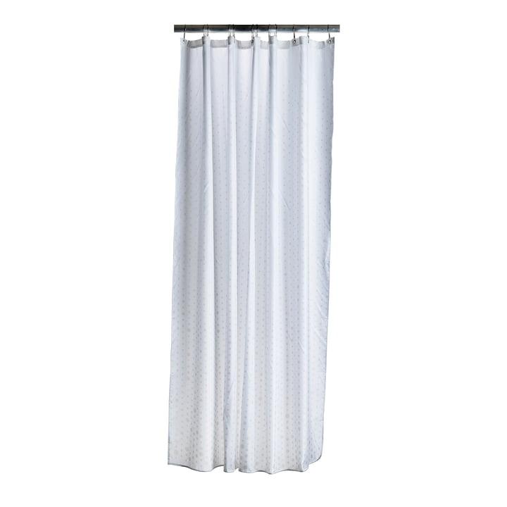 Le rideau de douche Drops de Zone Denmark, crème / blanc