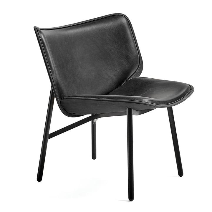 Chaise lounge Dapper par Hay en cuir Silk SIL0842 / chêne teinté / noir