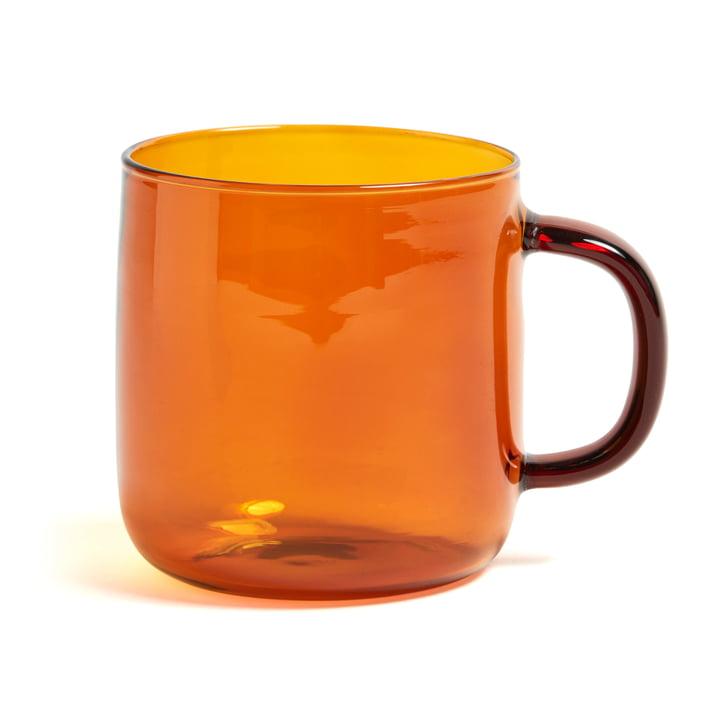 Mug en verre borosilicate Ø8xH8,5cm par Hay en ambre jaune
