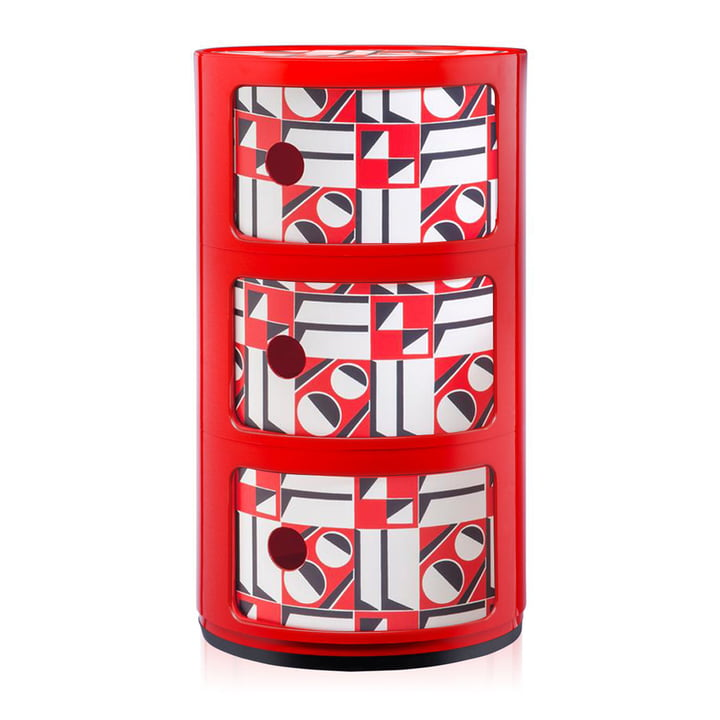 Componibili 4987 par Kartell en rouge / geometrico rosso
